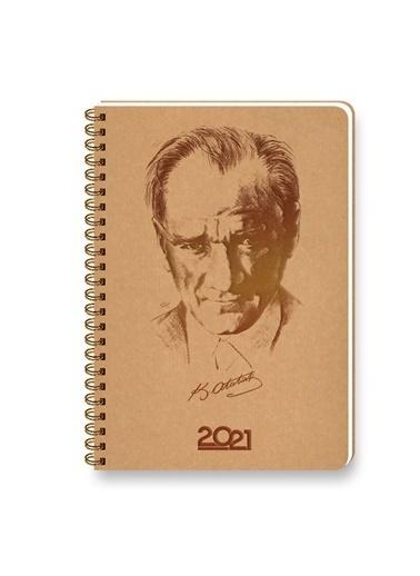 Keskin Color  2021 14x20 Atatürk Günlük Kraft Ajanda Renkli